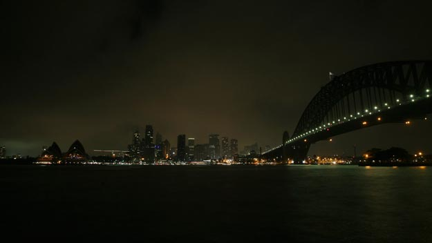 Sydney Harbour during Earth Hour in 2010. Credit: Sewell/WWF