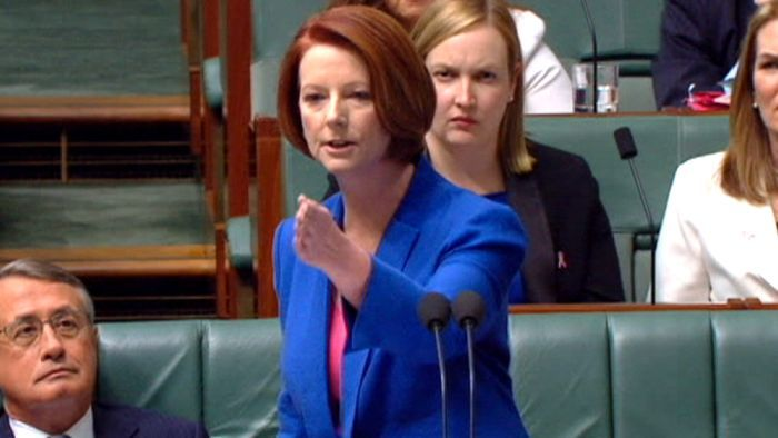 Julie Gillard addressing Tony Abbott in her world-famous speech, where she labelled him a 'misogynist' and sparked national debate about sexism in politics.