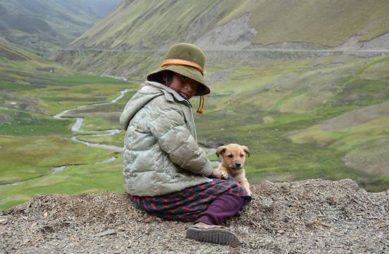 Andes girl and her dog