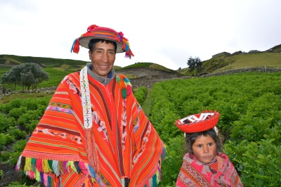 Chaullacocha farmer and his daughter