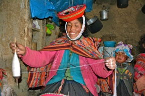 Mother weaving to earn money for her family