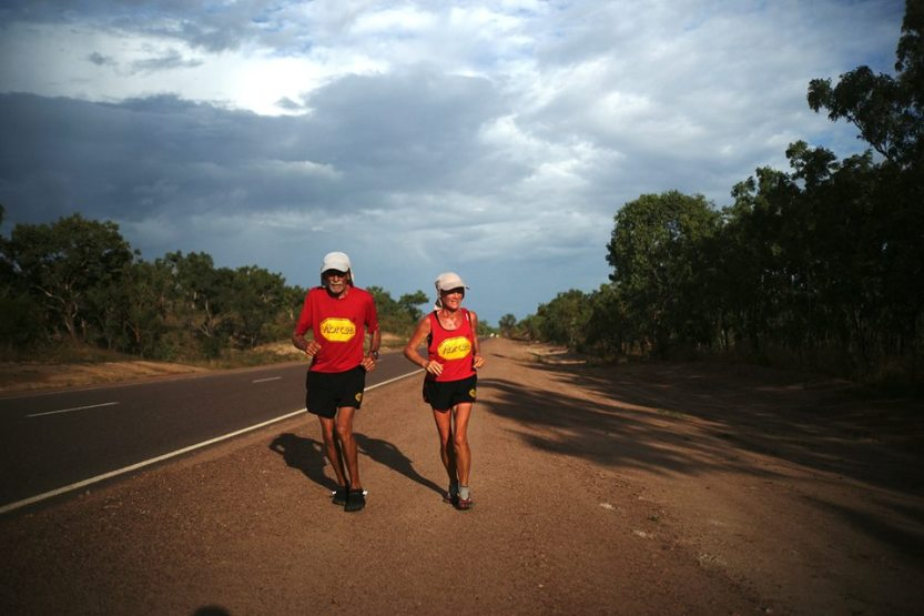 Alan and Janette during their run around Australia. Photo: Running Raw Around Australia