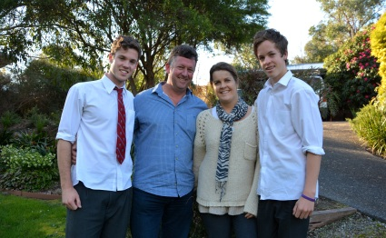 David and Sally with their two sons, Josh and Ben.